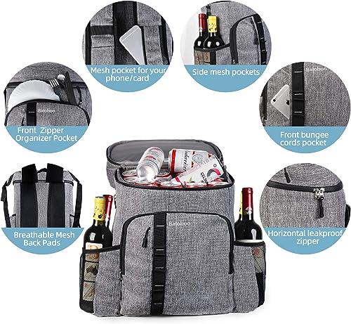 BALOBOO Cooler Backpack Waterproof Insulated Backpack Cooler Hiking Backpack Cooler Bag