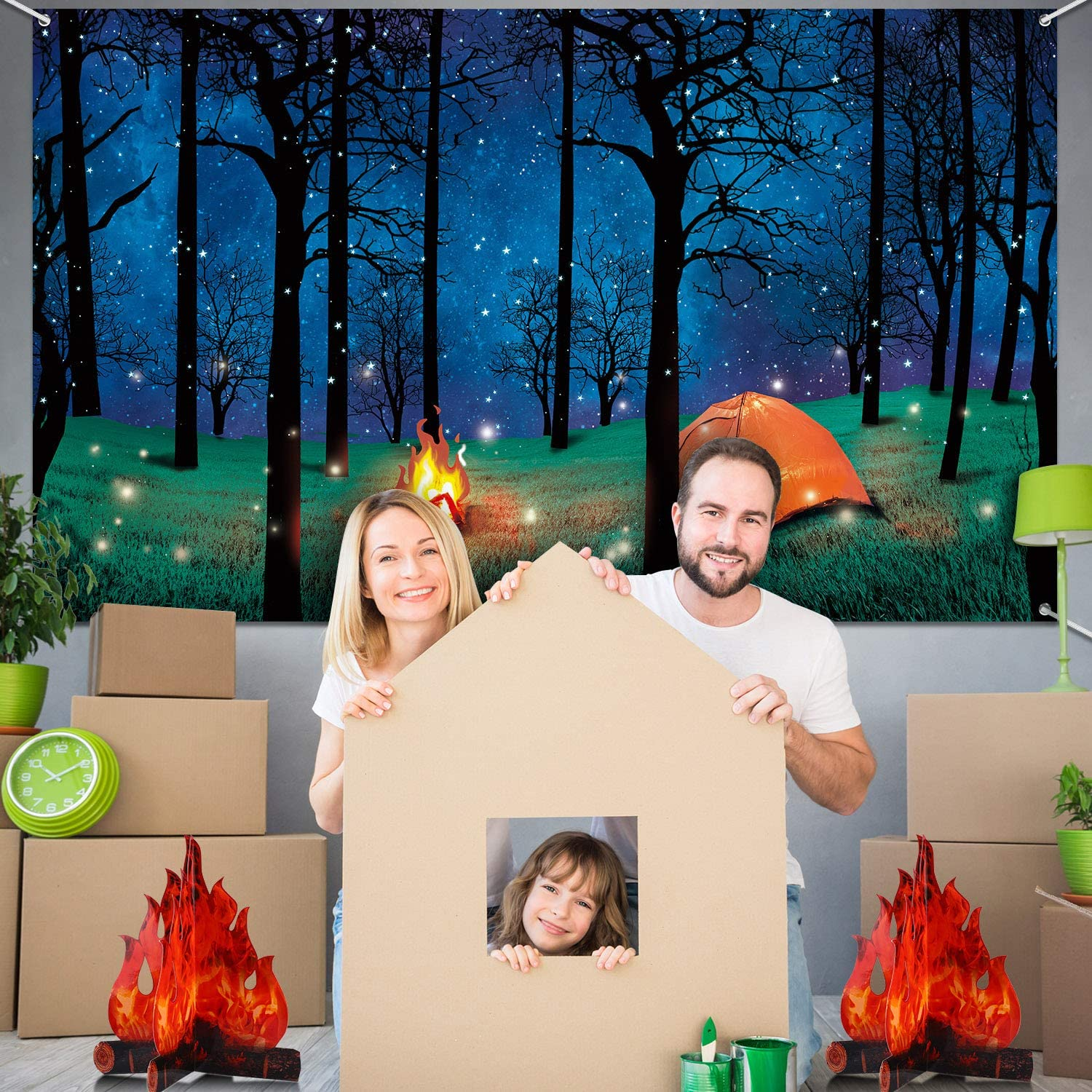 Forest Scene Camping Backdrop Camping Photography Background Camping Photo Backdrop and 2 Sets 3D Decorative Cardboard Campfire Centerpiece Artificial Fire Party Decoration for Camping Theme Party