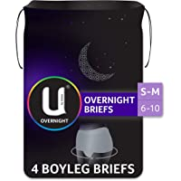 U by Kotex Overnight Briefs, Grey, S/M (Sizes 6-10), 4 Count