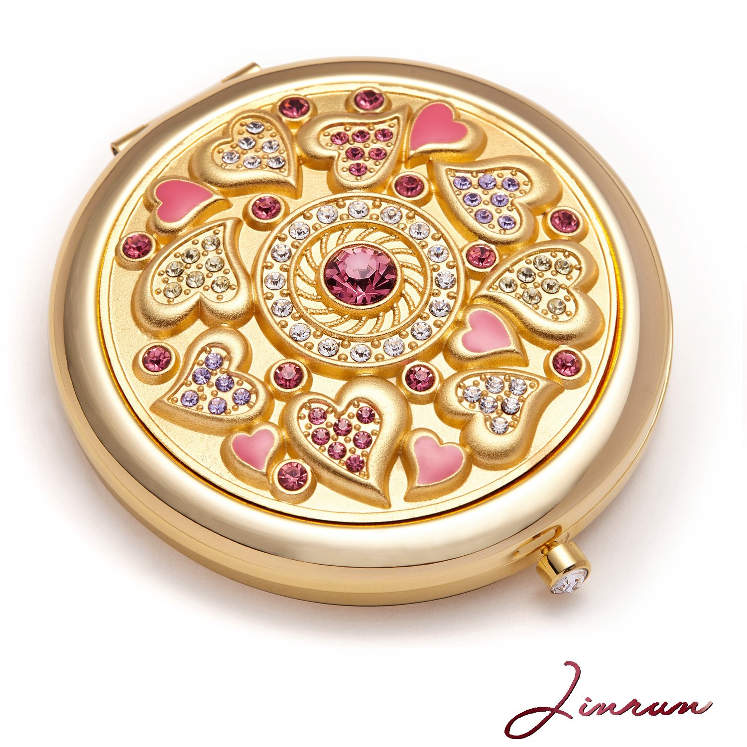 Butterfly Gifts For Girls /24k Gold Electroplate Makeup Mirror by Jinvun: Ultimate Luxury Round Vanity Mirror w/Diamonds/ Sturdy Travel Purse Compact Cosmetic Mirror/Folding Magnifying Beauty Mirror