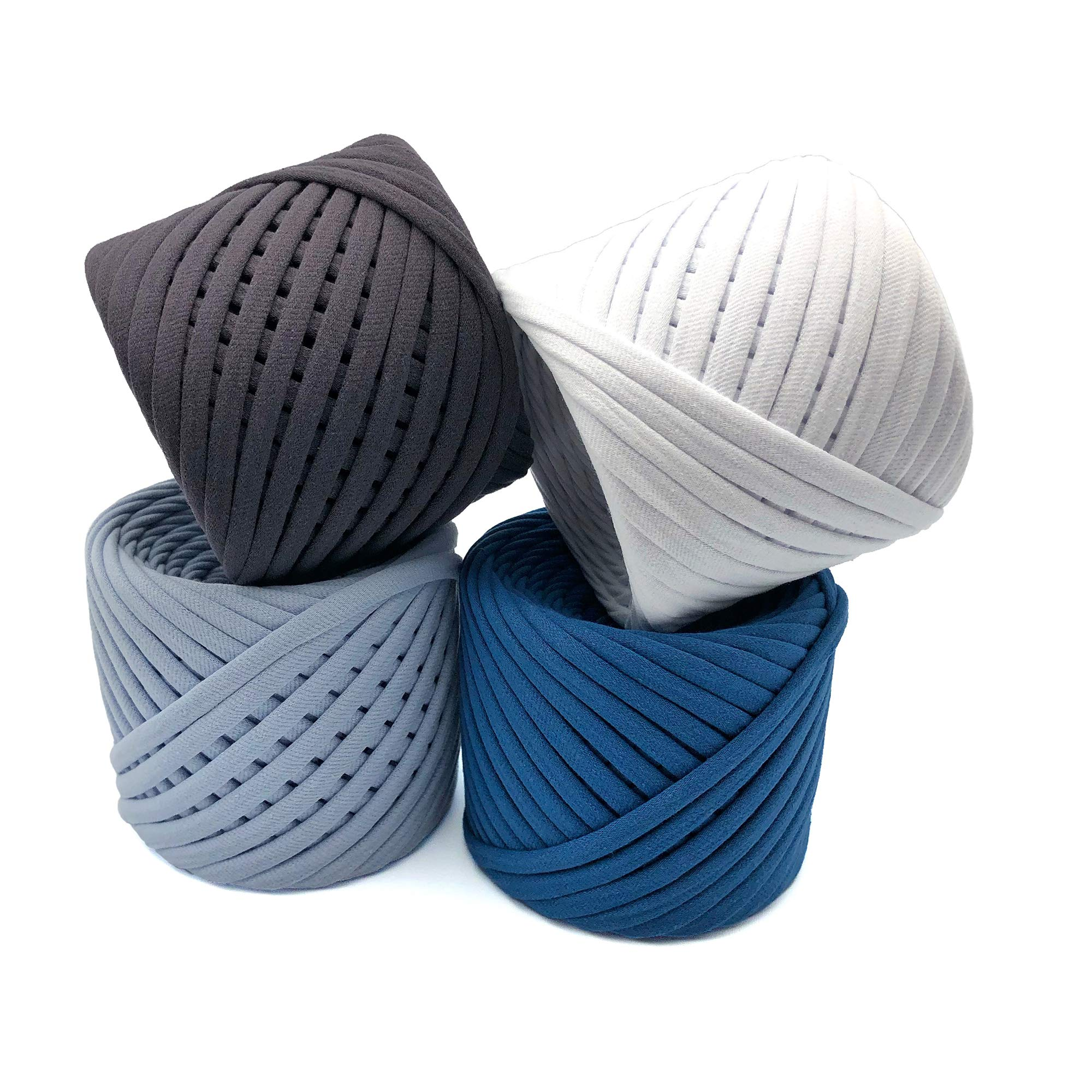 T-Shirt Yarn Fettuccini Zpagetti Set - 4 Balls Total of 218 Yards - Tshirt Yarn Kit for Crocheting - Ribbon Yarn 100% Cotton - Knitting Yarn Ball - T Yarn Organic - Macrame T-Yarn London