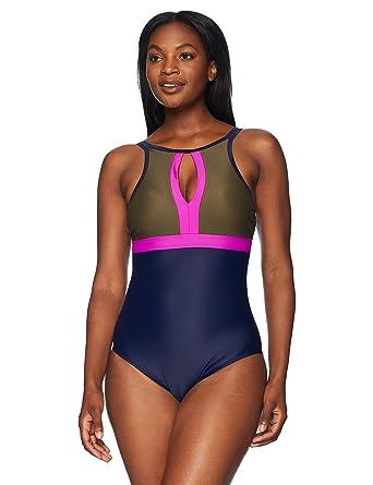 87e10c60e6d Amazon.com: Coastal Blue Women's Swimwear Empire Waist Colorblock One Piece  Swimsuit: Clothing