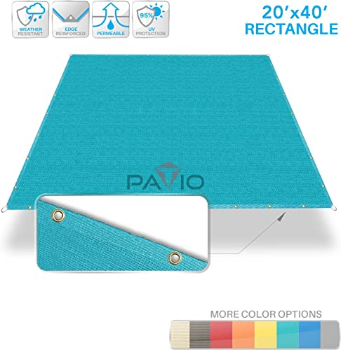 Patio Paradise 20 x 40 Straight Edge Sun Shade Sail, Turquoise Rectangle Outdoor Shade Cloth Pergola Cover UV Block Fabric – Custom 3 Year Warrenty