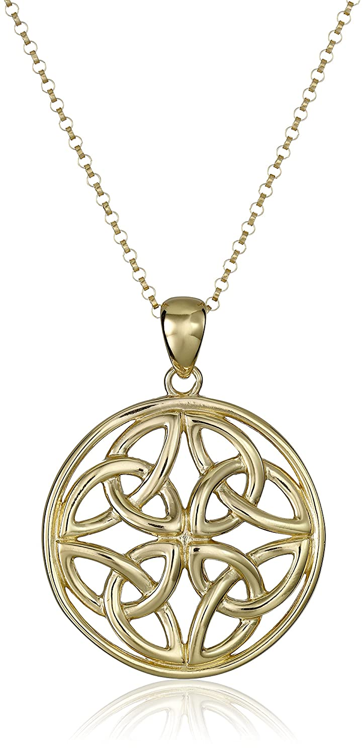 Amazon 18k yellow gold plated sterling silver celtic amazon 18k yellow gold plated sterling silver celtic triquetra trinity knot medallion pendant necklace 18 jewelry biocorpaavc