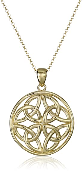 Amazon 18k yellow gold plated sterling silver celtic 18k yellow gold plated sterling silver celtic triquetra trinity knot medallion pendant necklace 18quot aloadofball Image collections