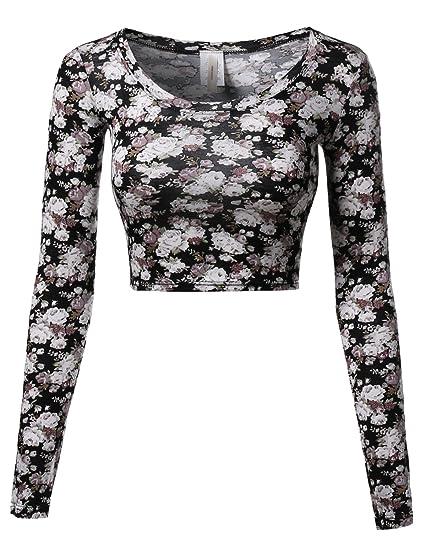 896118f6c6d235 Awesome21 Floral Prints Lightweight Long Sleeve Crop Top Black Beige Size L