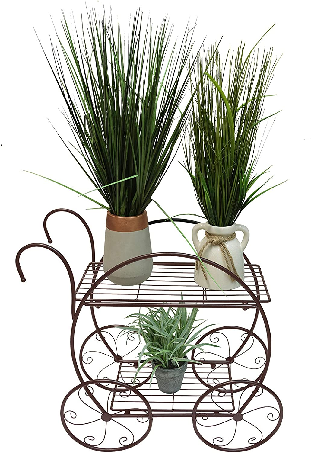 Useful. UH-FS309-BRN Decorative Two Tiered Flowerpot Cart - Decorative Wire Garden Stand with Two Shelves for Flowerpots and Planters