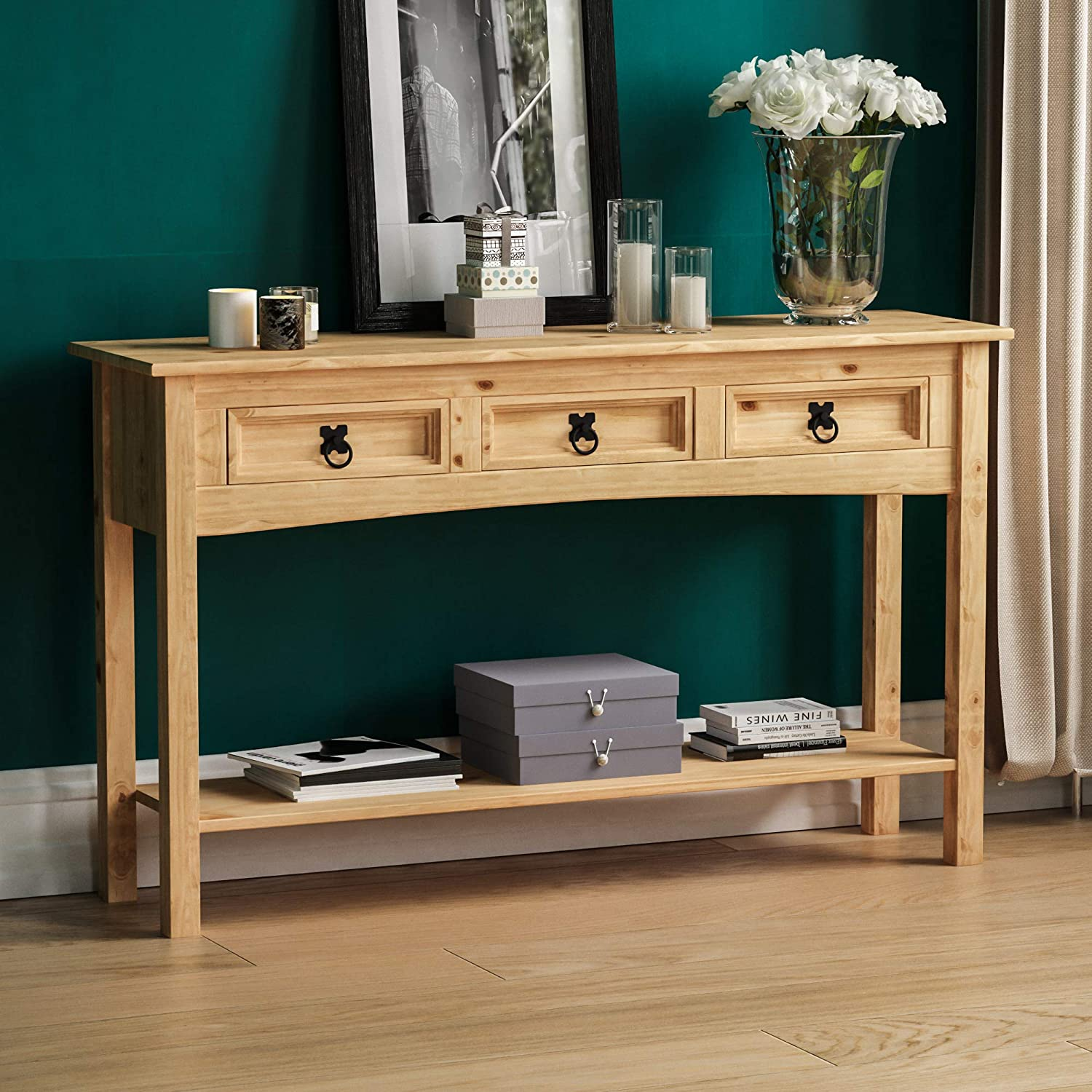 Corona Mexican 1 Drawer Console Table Shelf Distressed Waxed Pine