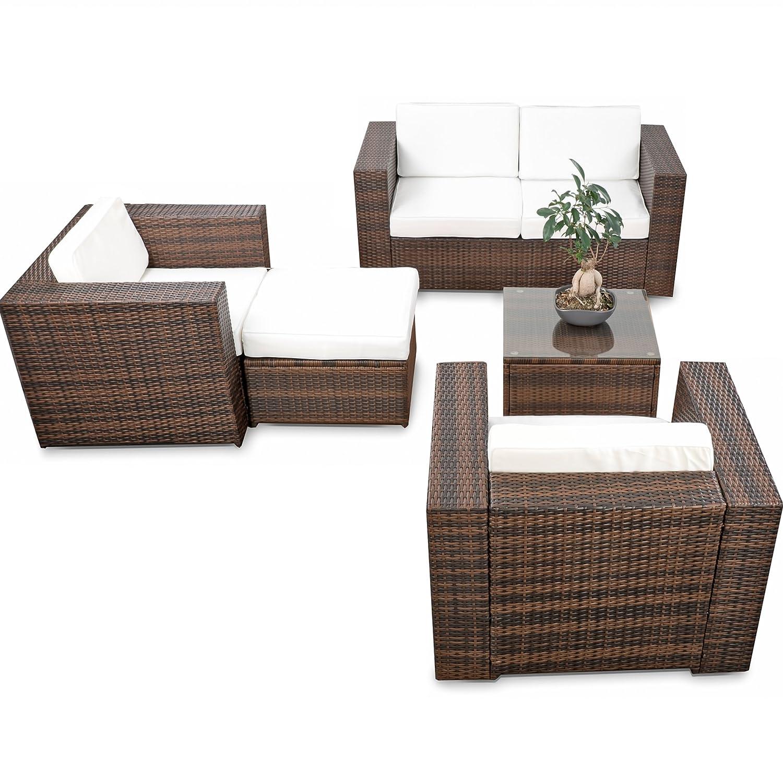 erweiterbares 15tlg. XXXL Polyrattan Lounge Sofa Set kaufen - braun ...