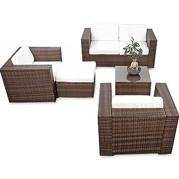 15tlg. XXL Rattan Loungemöbel Set für Terrasse und Balkon ...