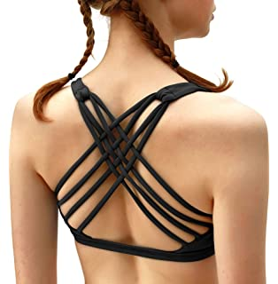 5863b7279bc5a QUEENIEKE Womens Yoga Sport Bra Light Support Strappy Free to Be Bra