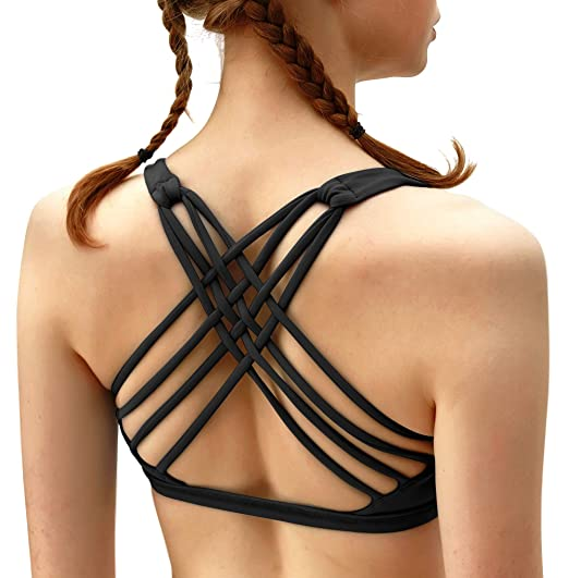 54b36fa98b QUEENIEKE Womens Yoga Sport Bra Light Support Strappy Free to Be Bra   Amazon.co.uk  Clothing
