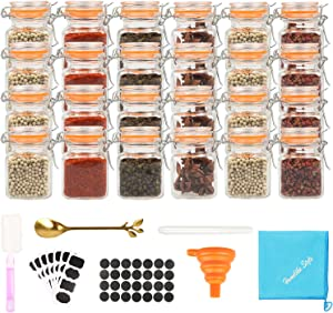 Homelike Style 3.4 oz Small Glass Spice Jars, Empty Mini Square Glass Spice Bottles with Airtight Flip Top Lids, Chalkboard Labels and Collapsible Funnel for Home and Kitchen-24 Pack