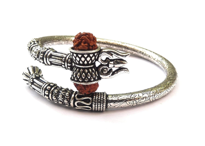 Buy KUKSHYA 925 Pure Silver Rudraksha Shiv Trishul Damroo Designer ...