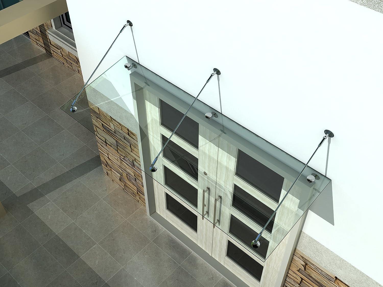 3x L-Halterung 250x90cm Wahl in 7 Gr/ö/ßen /& 4 Halterung Vordach Glasvordach T/ürvordach Verbundsicherheitsglas VSG Edelstahl Klarglas