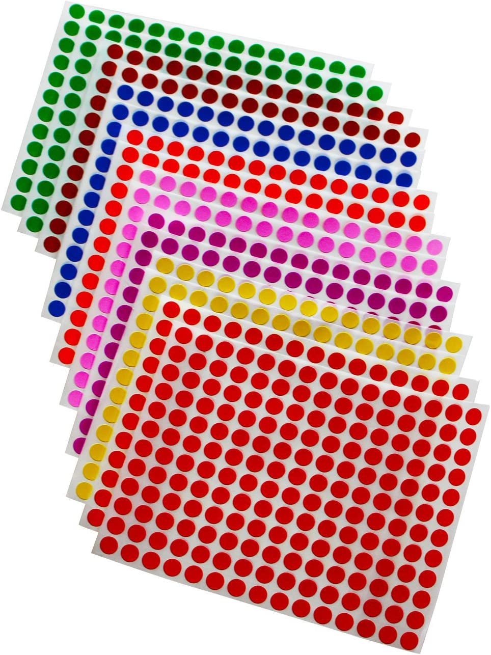 Amazon.com : Royal Green Colored Labels 1/4 inch 8mm 5/16 Dot Stickers in  Green, Yellow, Pink, Purple, Orange, Brown, Blue and Red 2688 Pack : Office  Products