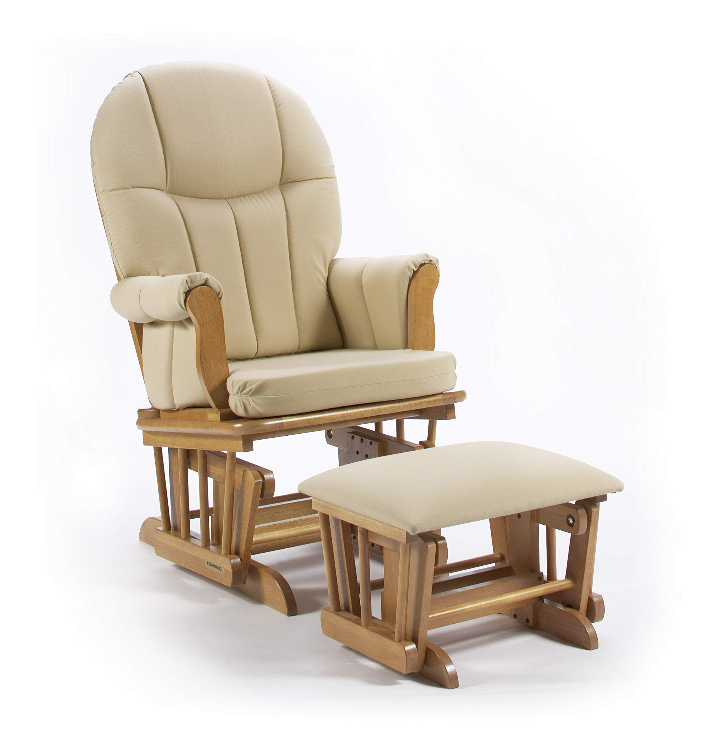Lennox Furniture Dallas Glider Chair and Ottoman Combo, Honey with Wheat