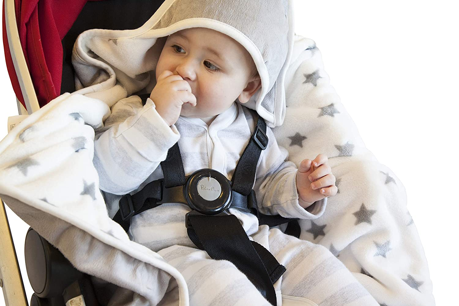 Baby Bundle Snuggleblanki Fleecey Hooded Baby Safety Travel Blanket Compatible with 3 and 5 point Harness - Silver Star