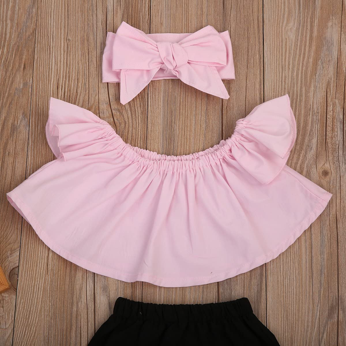Happy Town Clearance Cute Baby Girls Short Sleeve Blouse Tube Top+High Waist Pom Pom Short Pants