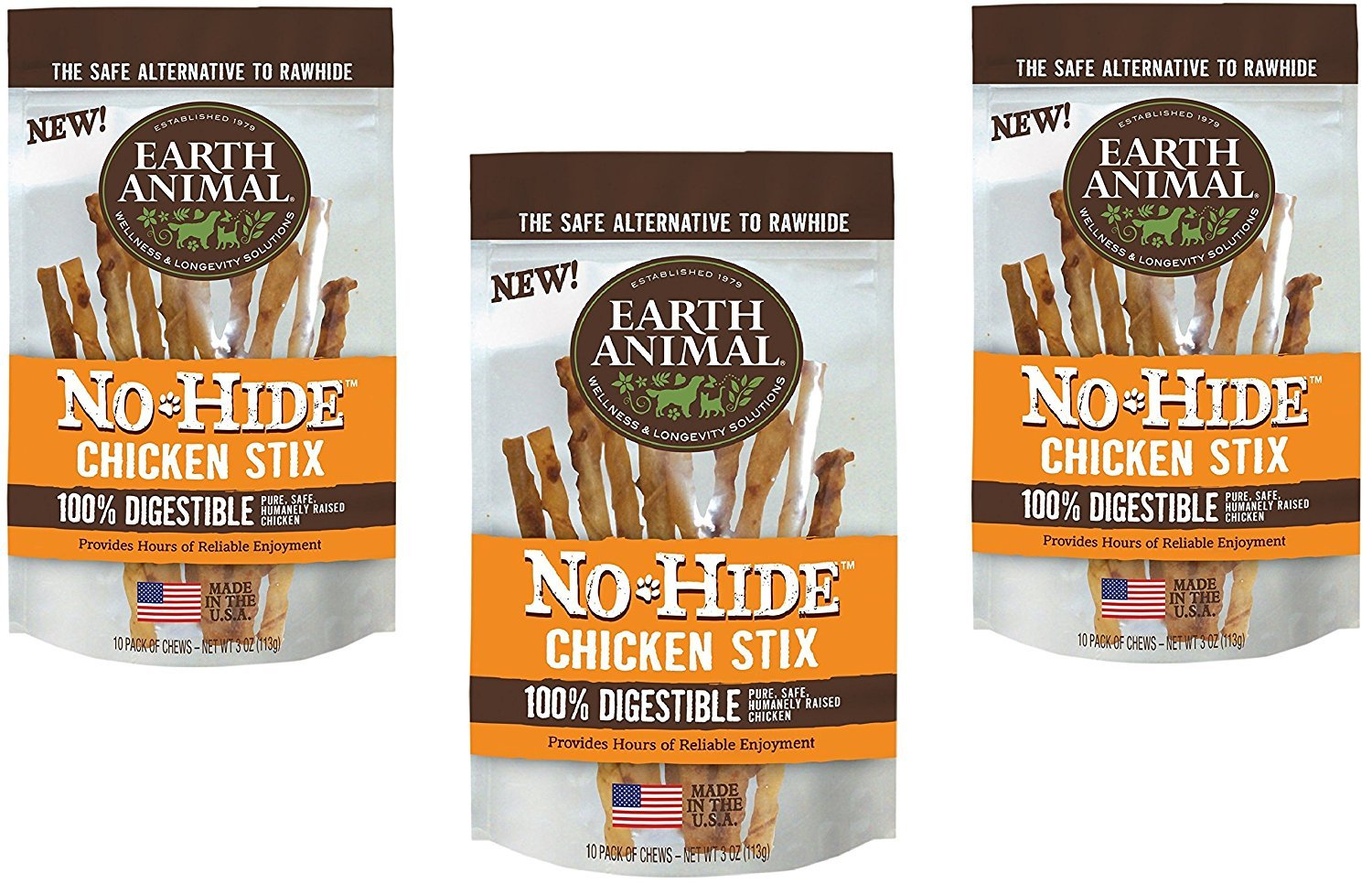 30-Count Earth Animal No-Hide Chicken Stix (3 Packs with 10 Stix Each) by Earth Animal