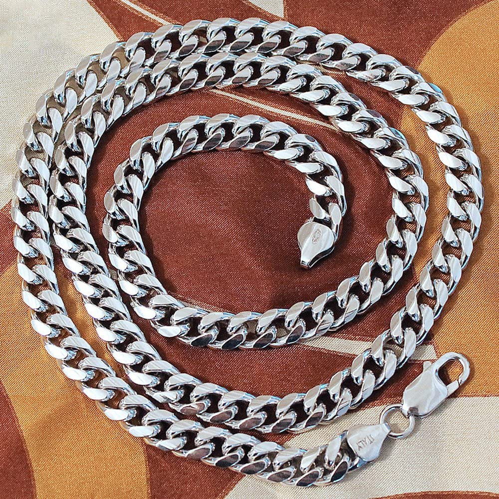 Mens Solid Sterling Silver Rhodium Plated 7 Millimeters Miami Cuban Curb Chain Necklace