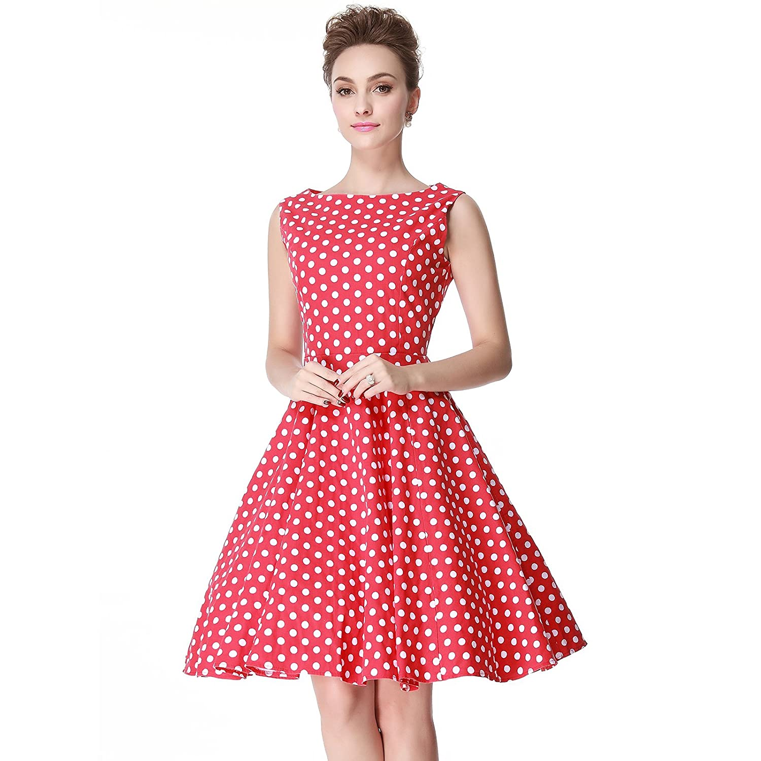 Vintage Inspired Halloween Costumes Heroecol Womens Vintage 1950s Dresses Boat Neck Sleeveless 50s 60s Polka Dot Style Retro Swing Cotton Dress $24.99 AT vintagedancer.com