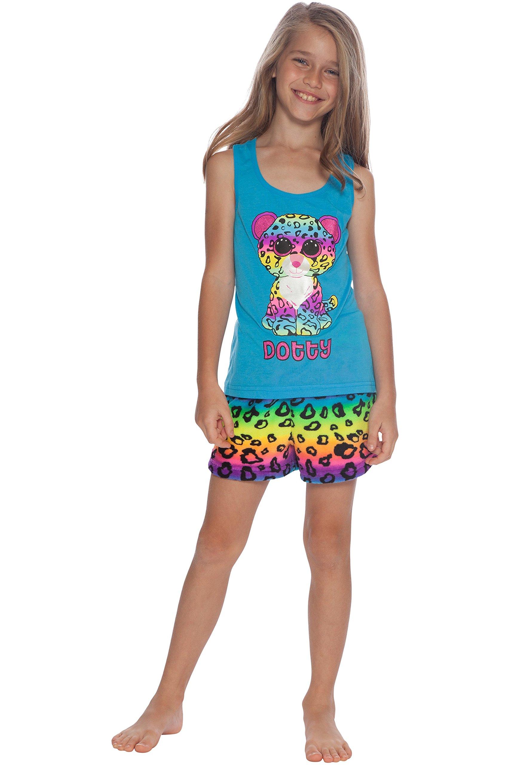TY Beanie Boo Little Girls' Beanie Boo Dotty Racerback Pajama Short Set, Multi, 6/6X