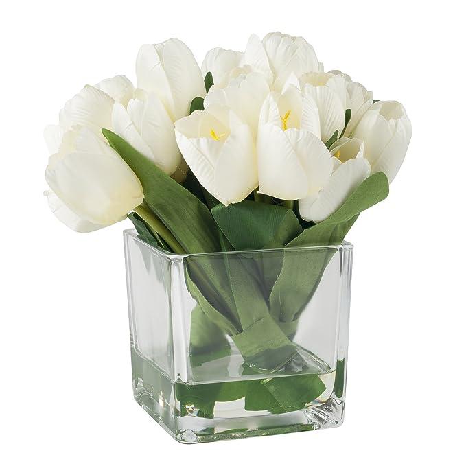 Amazon Pure Garden Tulip Floral Arrangement With Glass Vase
