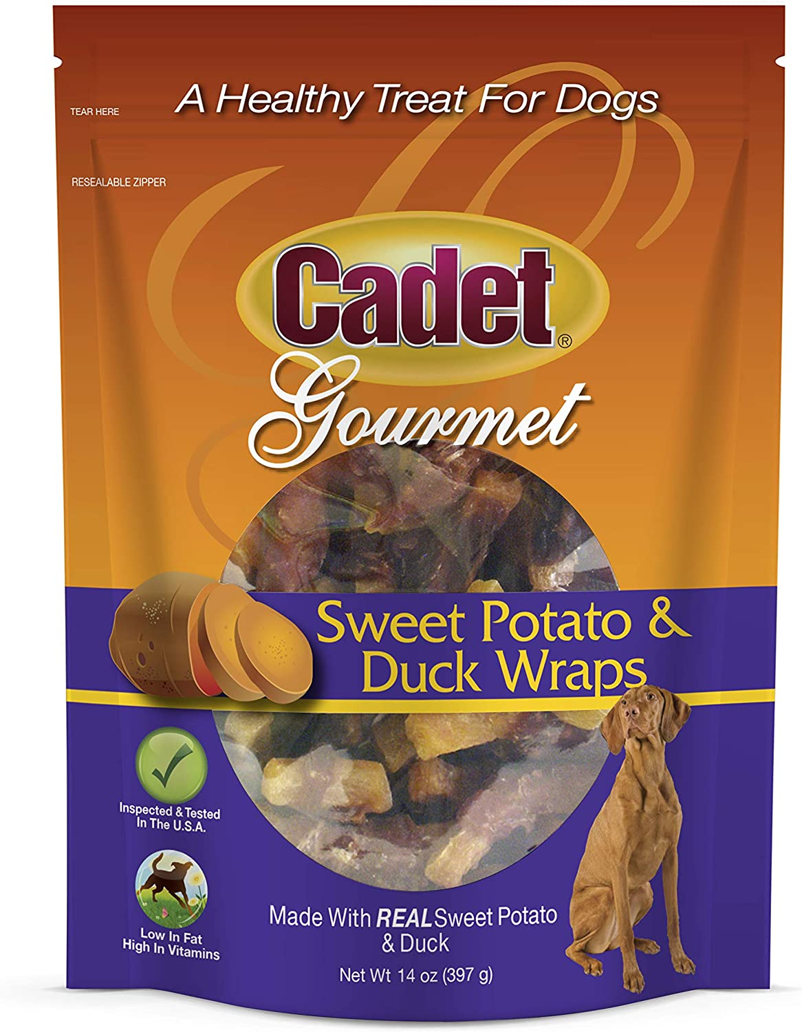 Cadet Premium Gourmet Duck & Sweet Potato Wrap Treats for Dogs, 14 oz.