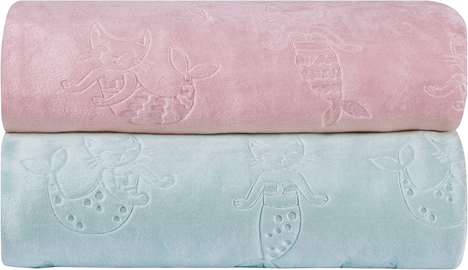 Pink Mermaid Available in Mermaid Cats and Unicorn Designs Colors Include Pink Kute Kids Embossed Velvet Plush Girls Twin Blanket Purple and Grey Super Soft and Ultra Cozy Aqua