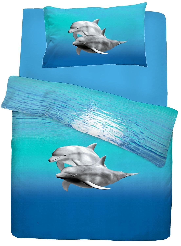 Housse de couette pour lit double Motif dauphin/Qualité Parure de lit avec housse de couette Bleu Mer Imprimé Animal 5029497082165