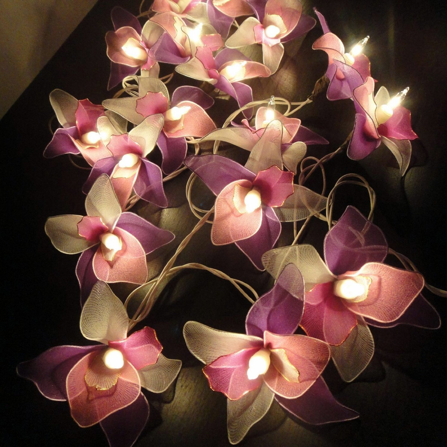 Thai Vintage Handmade 25 lights White Pink Purple Orchid Flower Fairy String Lights Wedding Party Decor Long 15 feet. by Thai Decorated