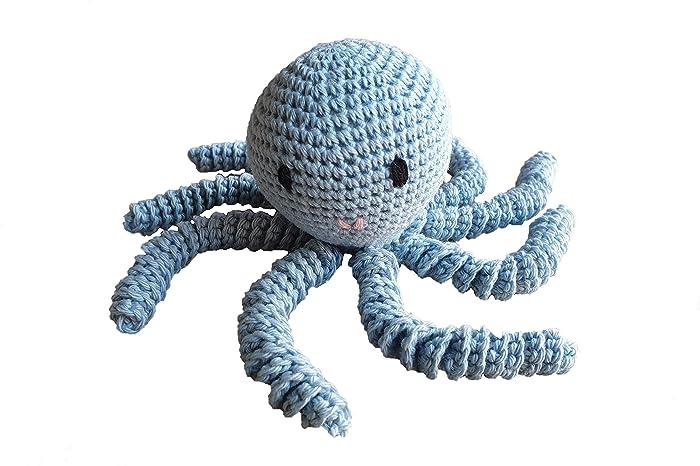 Pulpo amigurumi para recién nacido en color azul. Pulpo de ganchillo ...