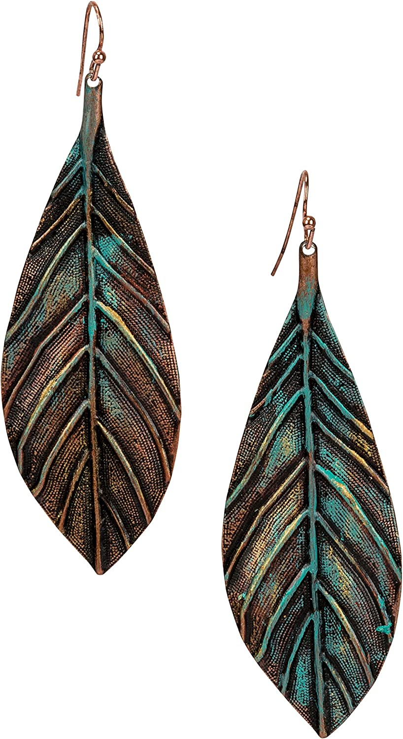 Handmade Boho Lightweight Statement Leaf Earrings with Detailed Texture for Women