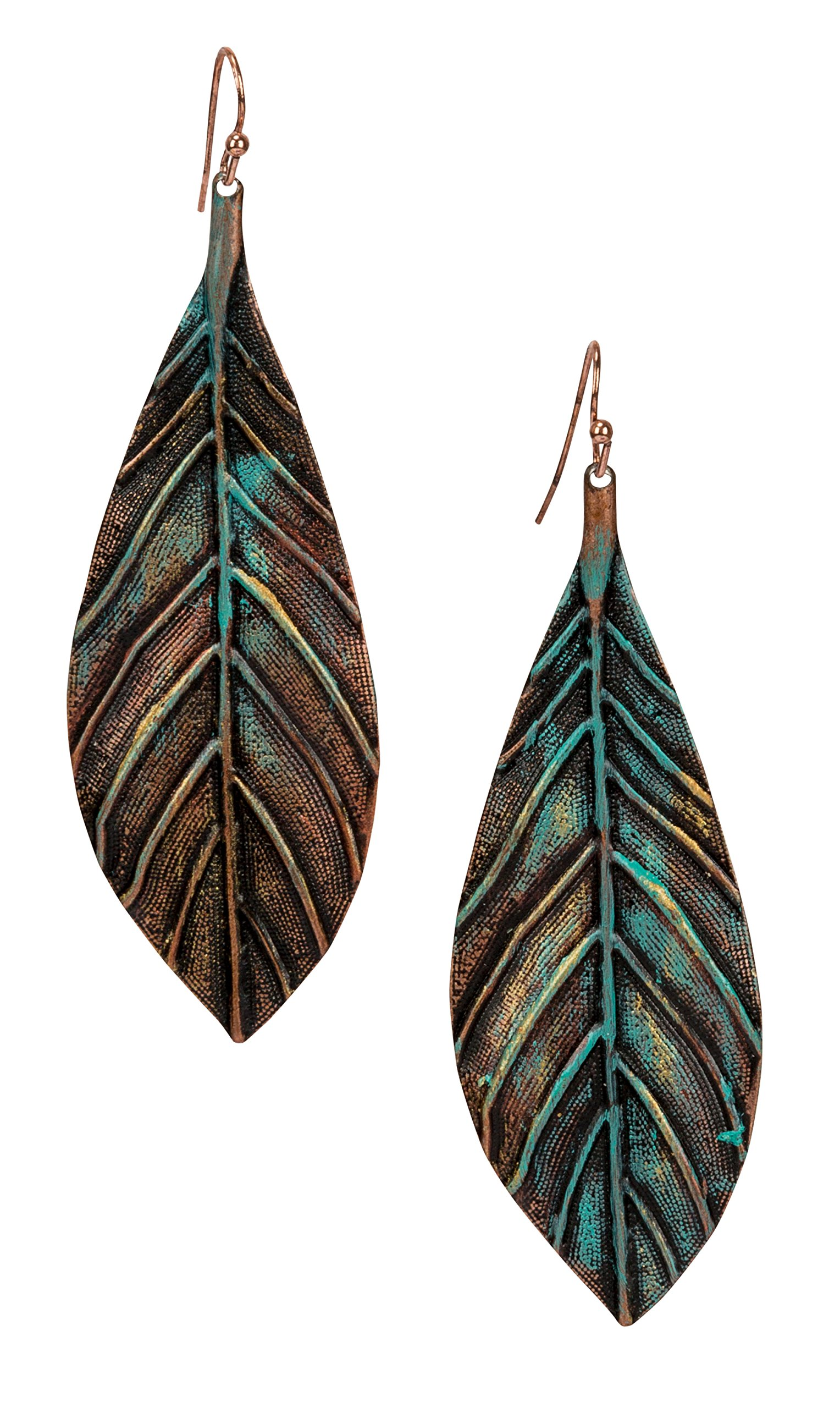 New! Handmade Boho Lightweight Statement Leaf Earrings with Detailed Texture for Women | SPUNKYsoul Collection by SPUNKYsoul