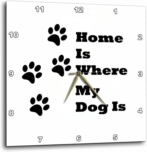 3dRose 3D Rose Image of Home is Where My Dog is with Paw Prints-Wall Clock, 15-inch DPP_223407_3