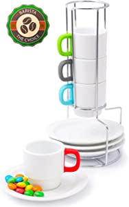 Doubleshot Espresso Coffee Cup Stackable Set – White Porcelain Demitasse Cups for Turkish Coffee – Multicolor Handles Protect from Burn – 4 Cups 70ml / 2.4oz and Saucers – Chrome Rack