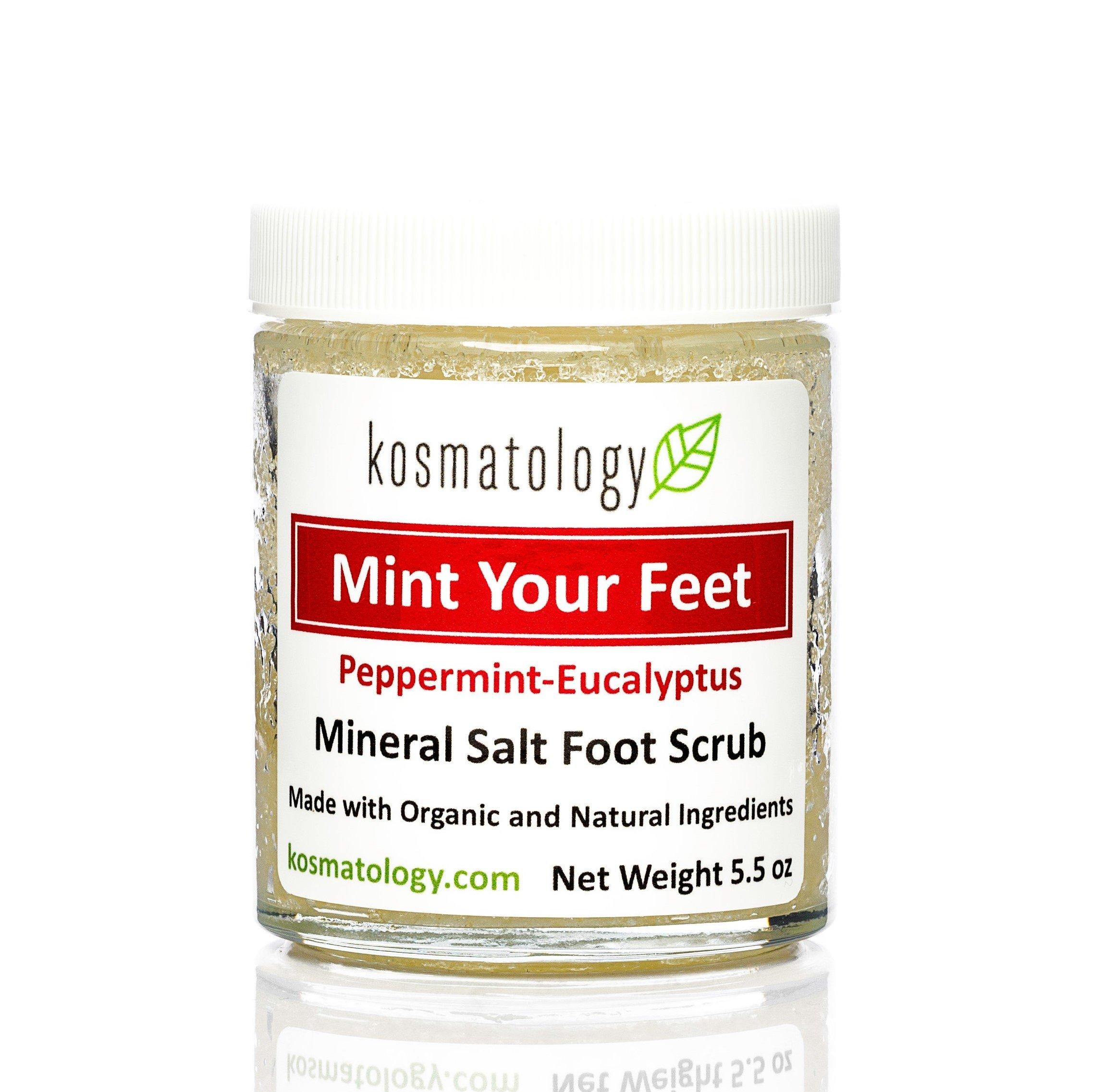 Kosmatology Mint Your Feet (Peppermint-Eucalyptus) Mineral Salt Foot Scrub, 5.5 oz by kosmatology