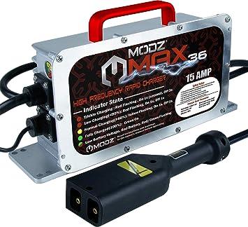 Amazon.com: MODZ Max36 15 AMP EZGO TXT Cargador de batería ...