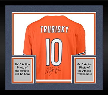 hot sale online 92e9d c4485 Framed Mitchell Trubisky Chicago Bears Autographed Nike ...