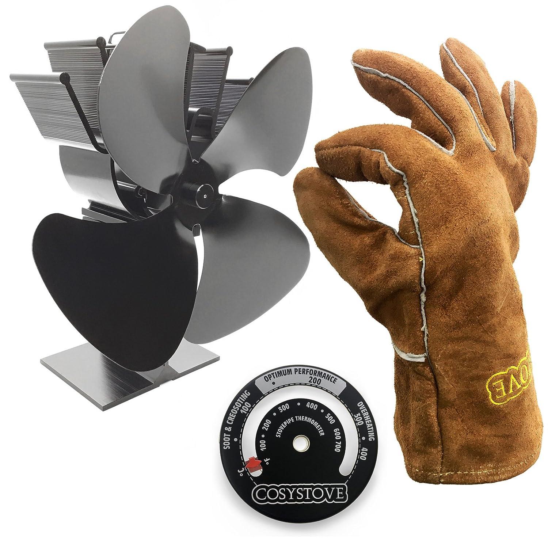 Cosystove Ventilador silencioso de 4 hojas, para estufa de leña, incluye guantes protectores de piel y termómetro para tubería: Amazon.es: Bricolaje y ...