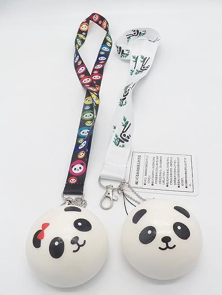 2 SLOW RISE Panda Squishy Bread Charm Mascot with Lanyard Key Chain Strap Set #1