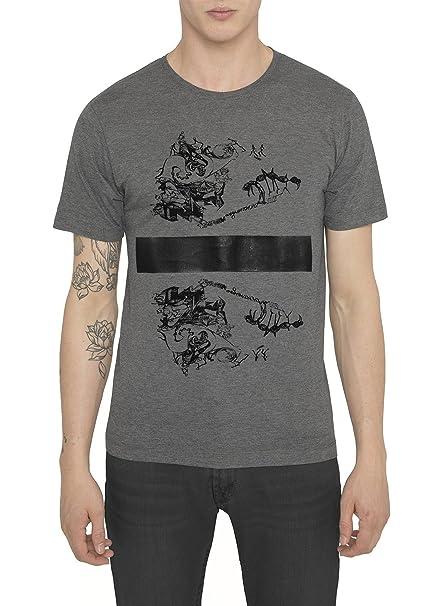 Camisetas Negras, Grises de Algodón para Hombre, T Shirt Fashion Vintage Rock, Camiseta con Estampado Metal 3D - Dark Souls T-Shirt Cool Urban, Manga Corta, ...