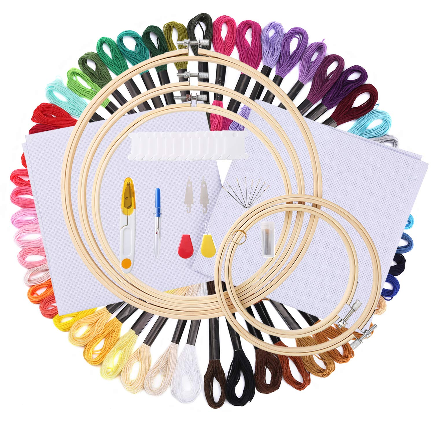 103 pcs Full Range of Embroidery Starter Kit for Beginners -50 Color Threads, 5 Piece Bamboo Embroidery Hoops,30 Piece Needles,12 Piece Floss Bobbins and More Cross Stitch Tool Kit Rtudan