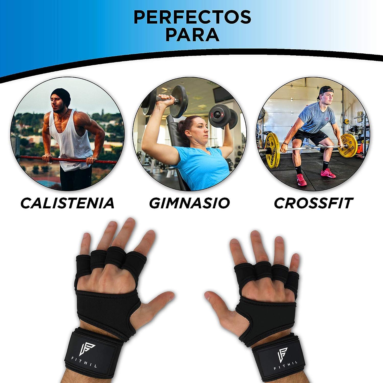 Fithil Guantes de Crossfit para Gimnasio con Muñequera para Mujer y Hombre - Calleras sin Dedos para Musculacion en Gym y Calistenia - Dominadas en Barra, ...