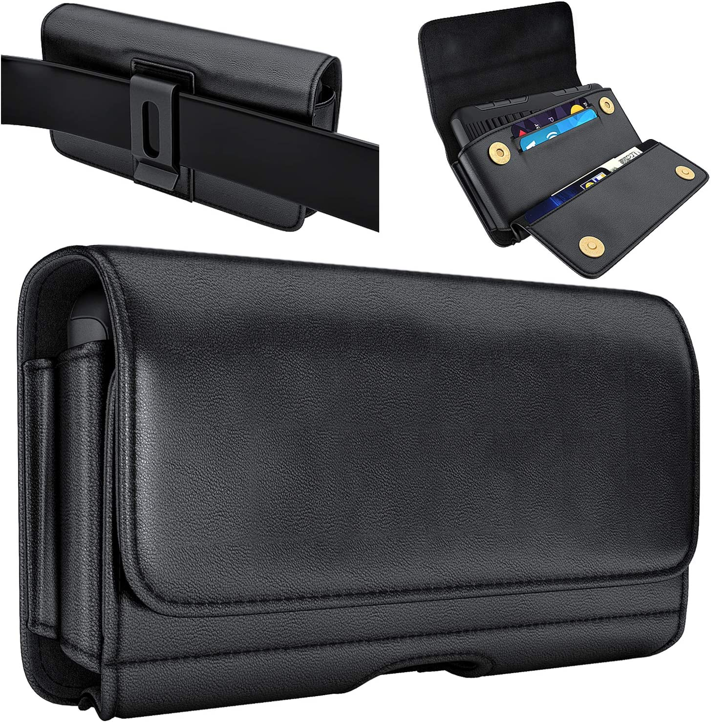 De-Bin iPhone 11 Pro Belt Holster, iPhone X / Xs / 10s Belt Case, Leather Cell Phone Belt Case with Belt Clip Pouch Cover Belt Holder for Apple iPhone 10 / 11 Pro (Fits Phones w/ Otterbox Cases on)