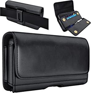 De-Bin iPhone 12 Pro Max Belt Holster Case, iPhone 11 Pro Max/ Xs Max/ 7+ / 8+/ 6s+/ 6+ Holster, Belt Case with Clip Cell Phone Pouch Belt Holder for Large iPhone Max and Plus (Fits Phone w/ Case on)