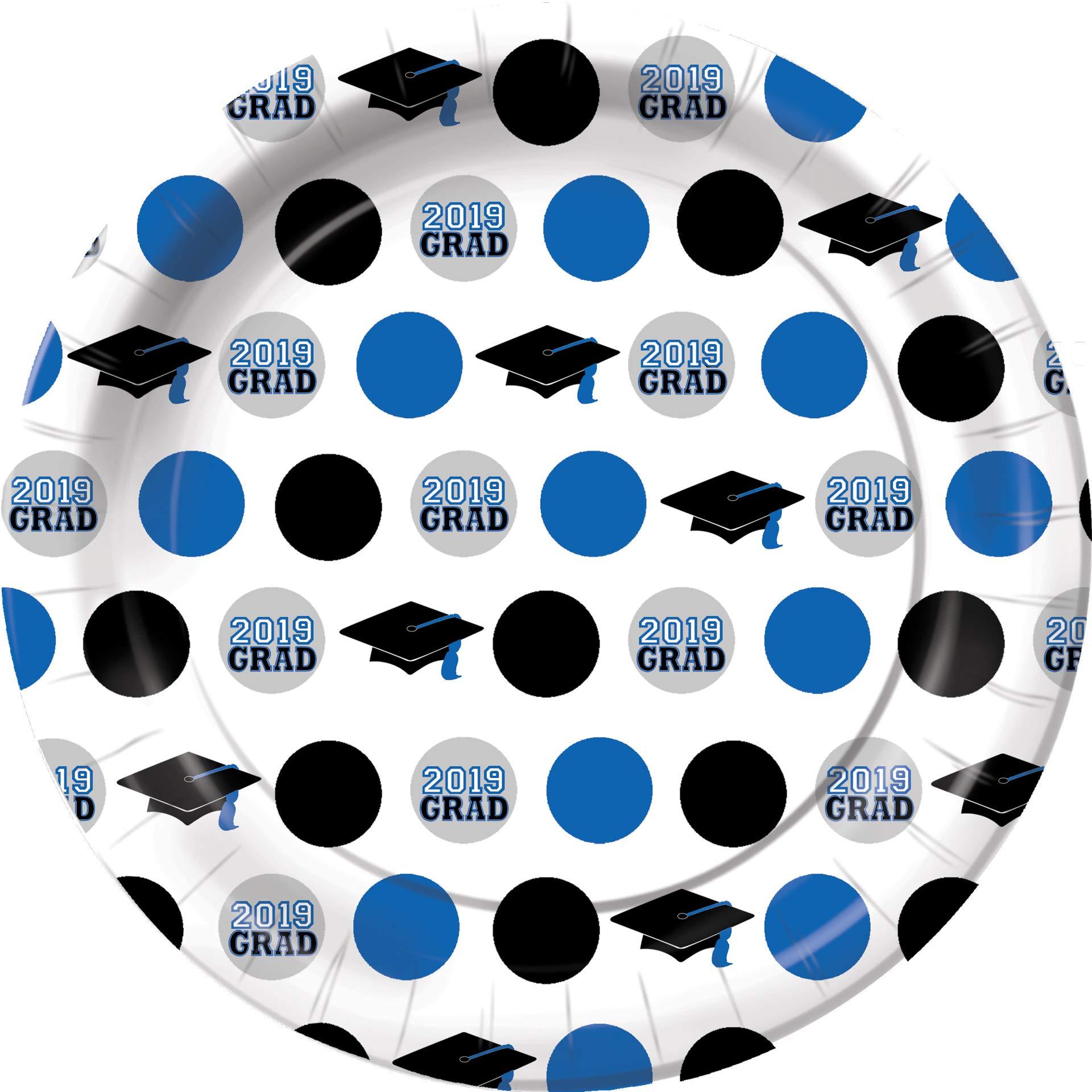 Graduation Grad Success Dot Dessert Plates Blue