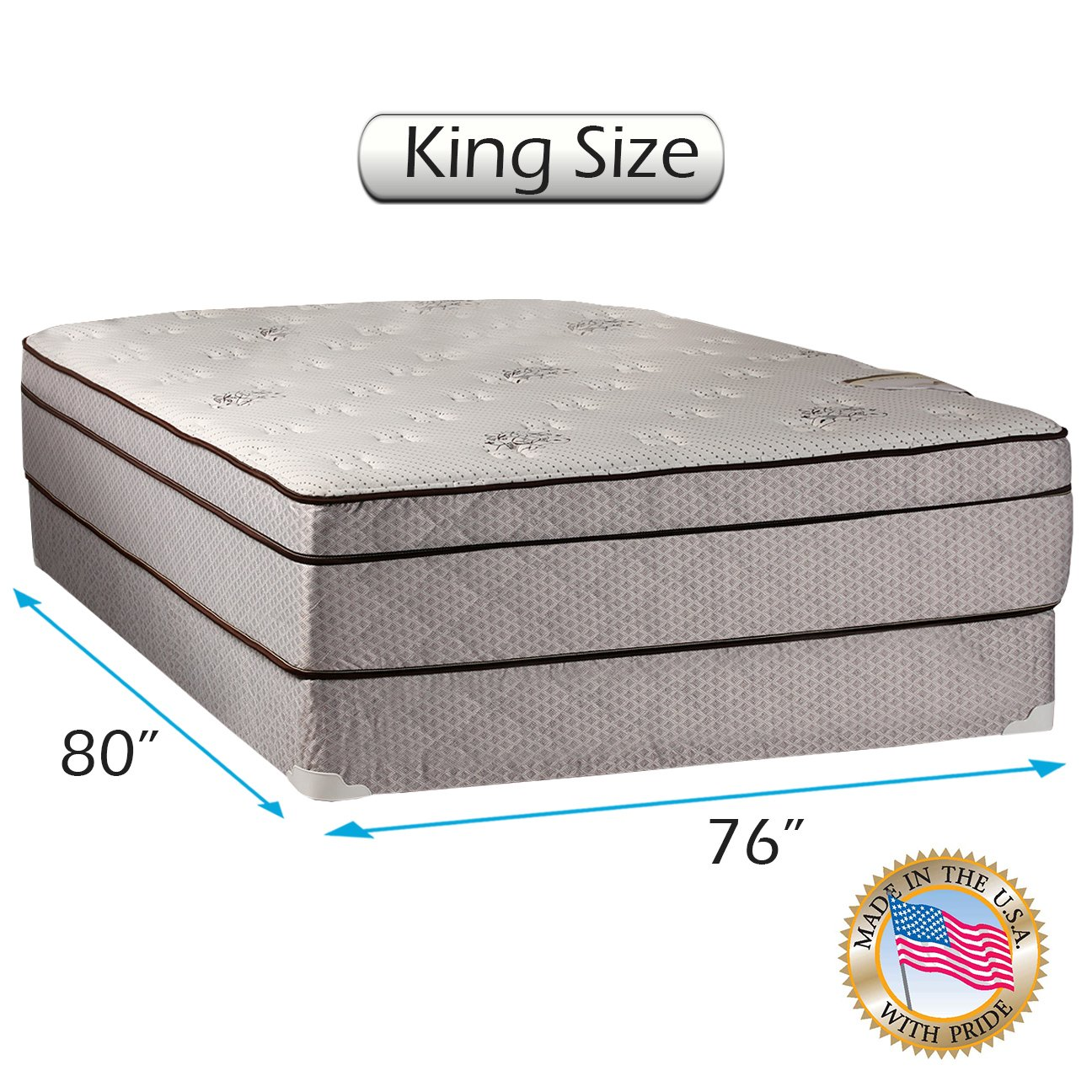 Dream Sleep Fifth Ave Plush Foam Encased Pillowtop (Eurotop) Mattress Set with Mattress Cover Protector Included - Sleep System Support, Orthopedic by Dream Solutions USA (King 76'' x80x 13'') by Dream Solutions USA