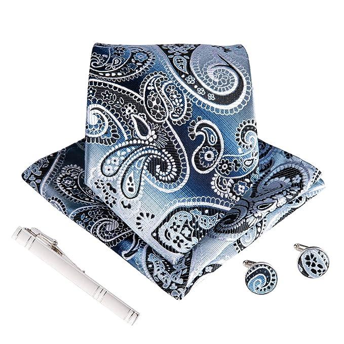 edda19152d39 Image Unavailable. Image not available for. Color: DiBanGu Men's Silk Tie  Handkerchief Blue Paisley Tie Pocket Square Set Wedding Business